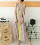 Colour Matching Chiffon Sleeveless Round Neck Tiered Ladies Dress