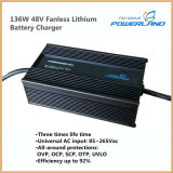 136W 48V Fanless Lithium Battery Charger with Full Range AC Input