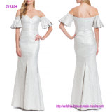 Pleated Sleeve Sweetheart Neckline off Shoulder Evening Gown