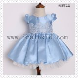 Cap Sleeve Classical Blue Puffy Girls Party Dress