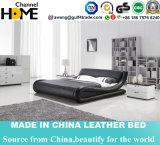 Modern Bedroom Furniture Black Leather King Size Bed (HC328)
