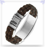 Leather Bracelet Stainless Steel Jewelry for Men (HR0508)