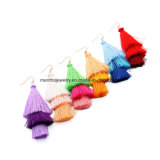 New Fashion Elegant Multi-Colors Multi-Layer Cotton Tassel Earrings for Nightclub