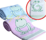 Coral Fleece Baby Blanket Frog Embroidery
