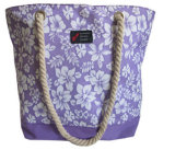 Polyester Ladies Fashion Beach Bag with Cotton Rope