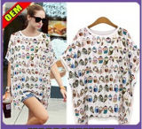 Fashion Sexy Cotton/Polyester Printed T-Shirt for Women (W298)
