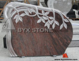 European Red Granite Carved Tree Monument / Tombstone