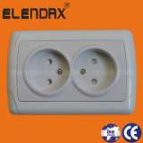 European Style Flush Mounted 2 Round Pin Wall Socket Outlet Double (F3209)