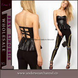 Faux Leather Seamless Camisole Top Women Blouse Fashion Apparel (1001)