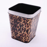 Leopard Printed Leather Covered Trash Can