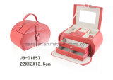 Handmade Classic Red Leather Oval Shape Jewelry Box