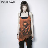 PT-112 Punk Rave Punk Style Colorful Irregular Demon Bone Print Vest