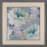Chinese Style Wall Art Flower Painting in Wood Frame