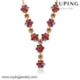 43448 Fashion Charm CZ Colorful Flower Necklace in Gold Plated