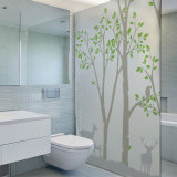 Frosted Translucent Window Film Decorative Green Leaves Glass Stickers for Washroom