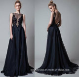 Lace Pageant Party Gown Black Chiffon Prom Evening Dress L20165