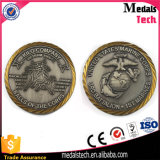 Souvenir 3D Antique Brass Challenge Coin with Rope Edge