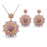 Sparkling Cubic Zircon Crystal Jewelry Set Including Necklaces and Earrings