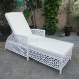Water-Proof White Rattan Chaise Lounge (SL-07020)