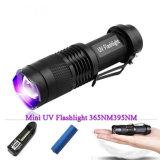 365nm 395nm Mini Black Light Zoom LED UV Flashlight
