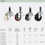 PU Rubber Wheel Thread Stem Top Industrial Caster (C-3)