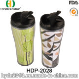 Double Wall Plastic Travel Coffee Mug with Inserted Paper (HDP-2028)
