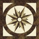 Home Decoration Marble Stone Flooring with Square Waterjet Medallion
