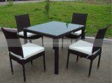 4 Seaters Plastic Rattan Outdoor Furniture Dining Set with Cushion