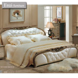 The Genuine Leather Bedroom Set of Home Furniture with Carvingsolid Wood (8096#)