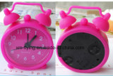 Promotional Multi-Color Lovely Round Twin Bell Silicone Mini Table Alarm Clocks for Travel