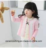 Girls′button up Collar Cardigan Clothes with Lace