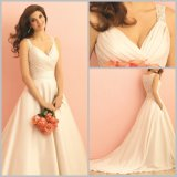 Beads Simple Wedding Gowns Lace Satin Wedding Dresses Alu2865