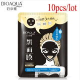 10PCS/Lot Bioaoua Black Silk Mask Bamboo Facial Mask