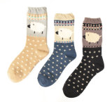 Women′s Cotton Crew Socks (WA032)