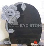 Black Granite Carved Flower Monument / Infant Headstone