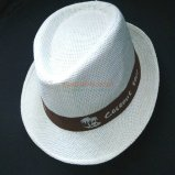 Custom Fedora Style Paper Straw Hat with Printed Logo