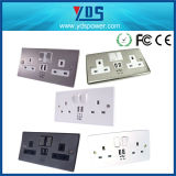 N Rang Screwless Stainless Steel Metal Plate Finish Wall Switch Socket, 13A 2 Gang Switched Socket+3.1A USB Outlet
