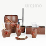 Floral Style Polyresin Bathroom Accessories Set (WBP0240A)