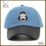Custom Washed Denim Baseball Hat with Leather Brim