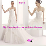 Sweetheart Lace White Organza Bridal Dress Wedding with Court Train