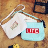 Cotton Fabric Letter Women′s Reusable Shopping Bag Female Tote Handbag Ladies Book Pouch Bolsa Feminina Bolso Mujer for Girls