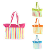 Customized Striped Beach Tote Bag