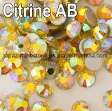 Non Hotfix Rhinestone Citrine Ab 16 Facets Flat Back Glitter Loose Stone DIY Nails Decoration Rhinestone Beads (TP-citrine ab)