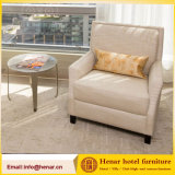 European Style Beige Fabric Single Sofa Chair with Solid Wood Leg