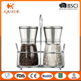 Glass Bottle Spice Grinder with Stainless Cap and Metal Stand