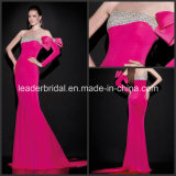 Pageant Dresses Embroidery Long Sleeves Fuchsia Mermaid V-Back Simple Party Evening Formal Dresses T92451