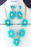 Fashion Alloy Jewelry Flower Acrylic Charm Necklace and Earring, Jewelry Set (SFN0016)
