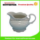 White Glazed Ceramic Water Milk Pitcher