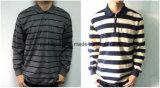Men Cotton Long Sleeves Stripe Polo Shirt