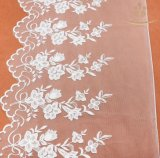 China Famous Organdy Mesh Embroidery Lace Trimming/Rose Embroidery Lace